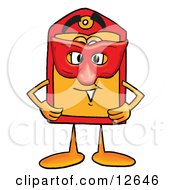 Clipart Picture Of A Price Tag Mascot Cartoon Character Wearing A Red Mask Over His Face by Toons4Biz