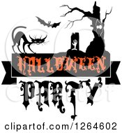 Clipart Of A Rising Zombie Bat Tree And Cat With Halloween Party Text Royalty Free Vector Illustration by Vector Tradition SM
