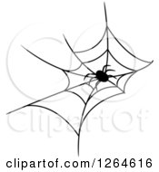Clipart Of A Black And White Spider In A Web Royalty Free Vector Illustration by Vector Tradition SM