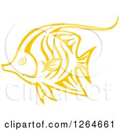 Clipart Of A Sketched Yellow Tang Fish Royalty Free Vector Illustration