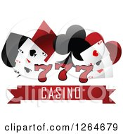 Clipart Of Triple Lucky Sevens With Playing Cards And Shapes Over Casino Text Royalty Free Vector Illustration