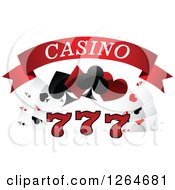 Clipart Of Triple Lucky Sevens With Playing Cards And Shapes Under Casino Text Royalty Free Vector Illustration