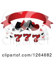 Clipart Of Triple Lucky Sevens With Playing Cards And Shapes Under A Blank Red Banner Royalty Free Vector Illustration