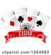 Clipart Of A Poker Chip With Playing Cards Over A Casino Banner Royalty Free Vector Illustration