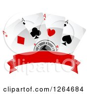 Clipart Of A Poker Chip With Playing Cards Over A Blank Banner Royalty Free Vector Illustration