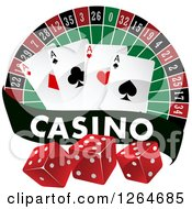 Clipart Of A Roulette With Playing Cards And Dice With A Casino Banner Royalty Free Vector Illustration