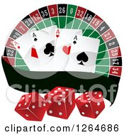 Clipart Of A Roulette With Playing Cards And Dice With A Blank Banner Royalty Free Vector Illustration