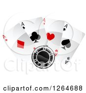 Clipart Of A Poker Chip With Playing Cards Royalty Free Vector Illustration