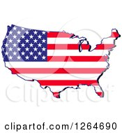 Clipart Of A Patriotic American Stars And Stripes Map Royalty Free Vector Illustration