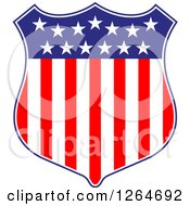 Clipart Of A Patriotic American Stars And Stripes Shield Royalty Free Vector Illustration
