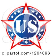 Clipart Of A Patriotic American Stars US Badge Royalty Free Vector Illustration by Vector Tradition SM