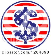 Clipart Of A Patriotic American Stars And Stripes Circle With A Dollar Symbol Royalty Free Vector Illustration