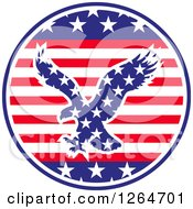 Patriotic American Stars And Stripes Circle With A Flying Eagle