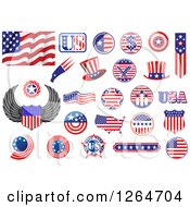 Clipart Of Patriotic American Stars And Stripes Designs Royalty Free Vector Illustration
