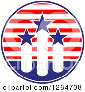 Clipart Of A Patriotic American Stars And Stripes Circle With Fireworks Royalty Free Vector Illustration