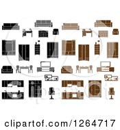 Clipart Of Black And Brown Furniture Royalty Free Vector Illustration by Vector Tradition SM