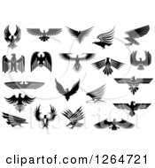Clipart Of Black And White Eagles Royalty Free Vector Illustration
