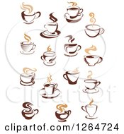 Clipart Of Steamy Hot Brown And Tan Coffee Cup Designs Royalty Free Vector Illustration