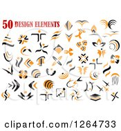 Clipart Of Orange And Black Designs Royalty Free Vector Illustration