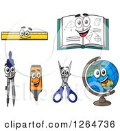 Clipart Of Happy School Item Characters Royalty Free Vector Illustration by Vector Tradition SM