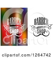 Clipart Of Barber Shop Text With Mustaches And Scissors Royalty Free Vector Illustration