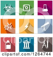 Clipart Of White Science Icons On Colorful Square Tiles Royalty Free Vector Illustration