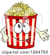 Clipart Of A Presenting Popcorn Bucket Character Royalty Free Vector Illustration