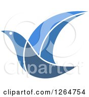 Clipart Of A Flying Blue Bird Royalty Free Vector Illustration