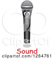 Clipart Of A Happy Microphone With Sound Text Royalty Free Vector Illustration