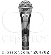 Clipart Of A Happy Microphone Royalty Free Vector Illustration