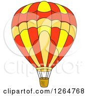 Clipart Of A Yellow Orange And Red Hot Air Balloon Royalty Free Vector Illustration