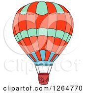 Clipart Of A Green Red And Blue Hot Air Balloon Royalty Free Vector Illustration