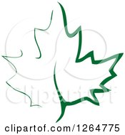 Clipart Of A Green Maple Leaf Royalty Free Vector Illustration