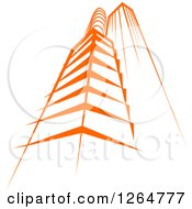 Clipart Of A Tall Orange City Skyscraper Building Royalty Free Vector Illustration