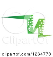 Clipart Of A Green Abstract City Skyscraper Building Royalty Free Vector Illustration