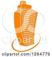 Clipart Of A Tall Orange City Skyscraper Highrise Building Royalty Free Vector Illustration