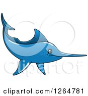 Clipart Of A Cartoon Blue Swordfish Royalty Free Vector Illustration