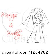 Clipart Of A Black And White Sketched Bride With Red Marriage And Wedding Text Royalty Free Vector Illustration
