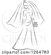 Clipart Of A Black And White Sketched Bride Royalty Free Vector Illustration by Vector Tradition SM