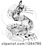 Clipart Of Grayscale Flowing Music Notes Royalty Free Vector Illustration