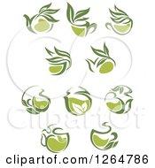 Clipart Of Green Tea Pots Royalty Free Vector Illustration