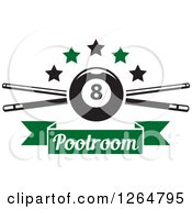Clipart Of A Billiards Pool Eightball Over Crossed Cue Sticks With Stars And A Green Text Ribbon Banner Royalty Free Vector Illustration