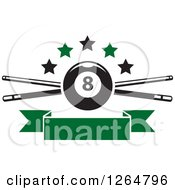 Clipart Of A Billiards Pool Eightball Over Crossed Cue Sticks With Stars And A Blank Green Ribbon Banner Royalty Free Vector Illustration
