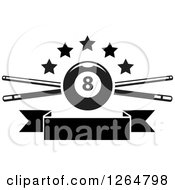 Clipart Of A Black And White Billiards Pool Eightball Over Crossed Cue Sticks With Stars And A Blank Ribbon Banner Royalty Free Vector Illustration