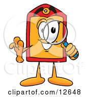 Clipart Picture Of A Price Tag Mascot Cartoon Character Looking Through A Magnifying Glass by Toons4Biz