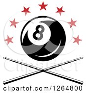 Clipart Of A Billiards Pool Eightball Over Crossed Cue Sticks And Red Stars Royalty Free Vector Illustration