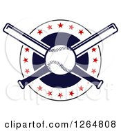 Clipart Of A Baseball And Crossed Bats In A Circle With Stars Royalty Free Vector Illustration by Vector Tradition SM