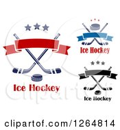 Clipart Of Hockey Pucks Over Crossed Sticks With Stars And Banners Royalty Free Vector Illustration