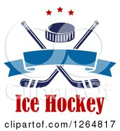 Clipart Of A Hockey Puck Over Crossed Sticks With A Blue Ribbon Banner And Stars Above Text Royalty Free Vector Illustration
