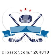 Clipart Of A Hockey Puck Over Crossed Sticks With A Blue Ribbon Banner And Stars Royalty Free Vector Illustration by Vector Tradition SM